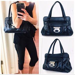 Tod's Navy Blue Leather Satchel Shoulder Bag